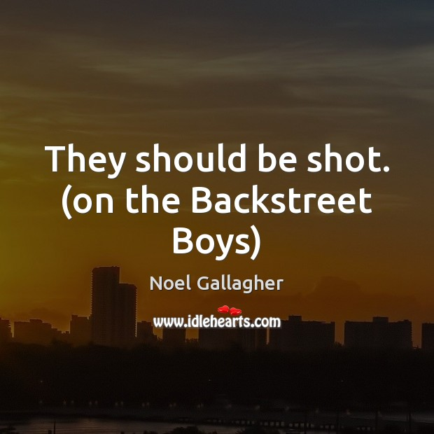 They should be shot. (on the Backstreet Boys) Noel Gallagher Picture Quote