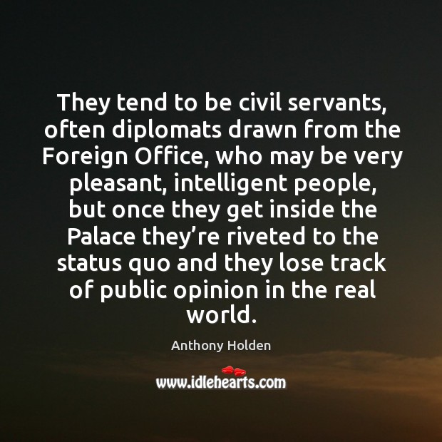 They tend to be civil servants, often diplomats drawn from the foreign office, who may be very pleasant Image