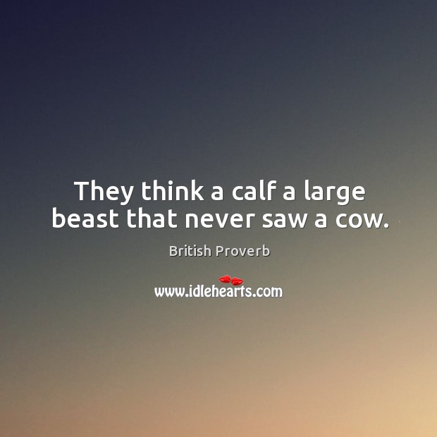 They think a calf a large beast that never saw a cow. Image