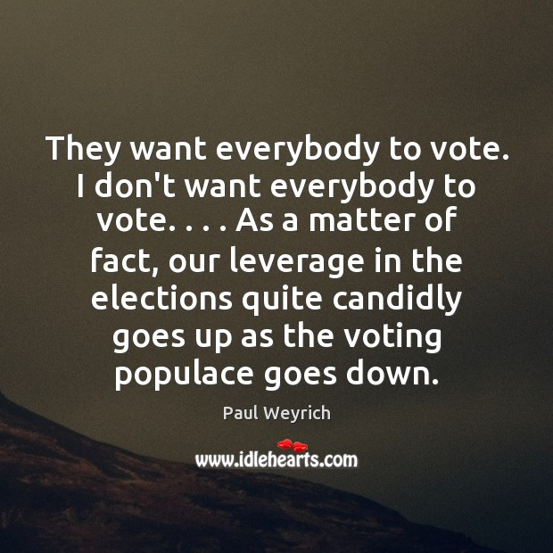 Image, They want everybody to vote. I don't want everybody to vote. . . . As