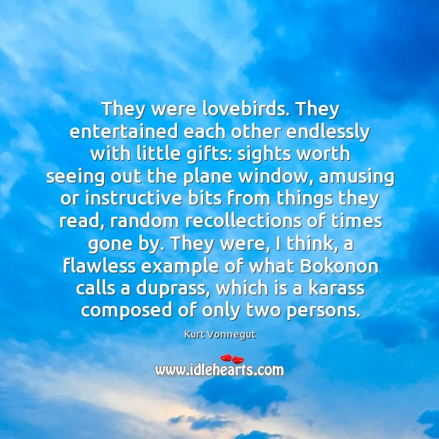 They were lovebirds. They entertained each other endlessly with little gifts: sights Image