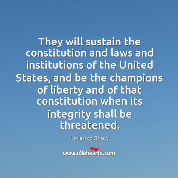 They will sustain the constitution and laws and institutions of the united states Image