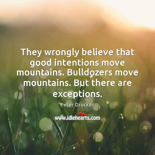 They wrongly believe that good intentions move mountains. Bulldozers move mountains. But Good Intentions Quotes Image