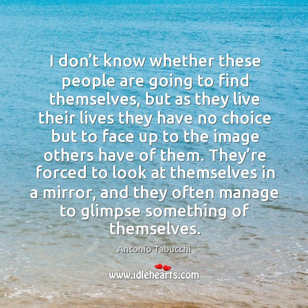 They're forced to look at themselves in a mirror, and they often manage to glimpse something of themselves. Antonio Tabucchi Picture Quote