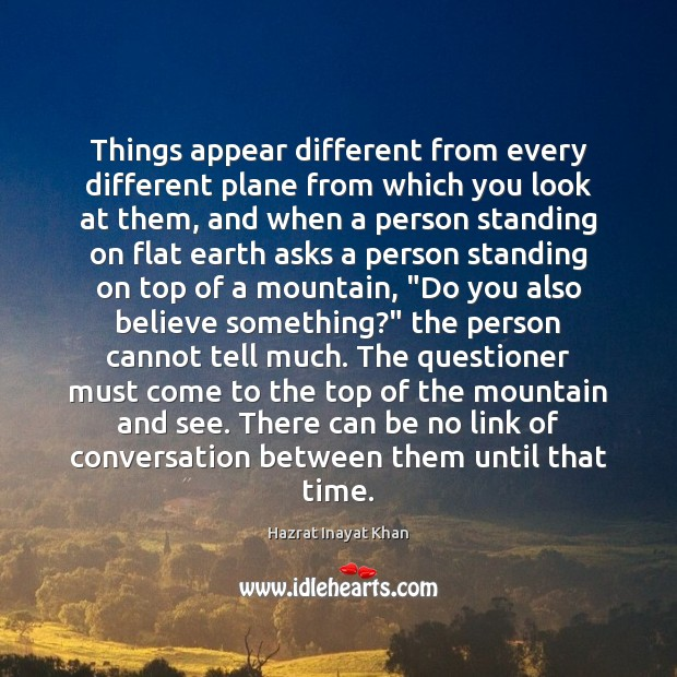 Things appear different from every different plane from which you look at Image