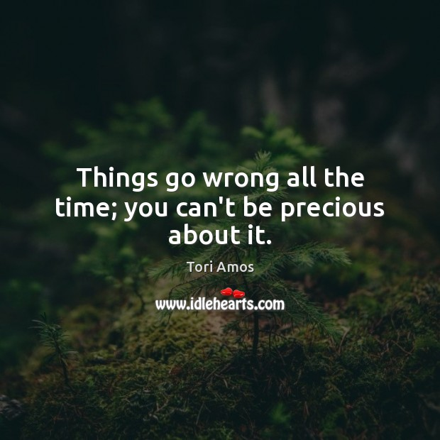 Things go wrong all the time; you can't be precious about it. Tori Amos Picture Quote