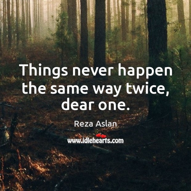 Things never happen the same way twice, dear one. Reza Aslan Picture Quote