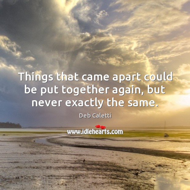 Things that came apart could be put together again, but never exactly the same. Image