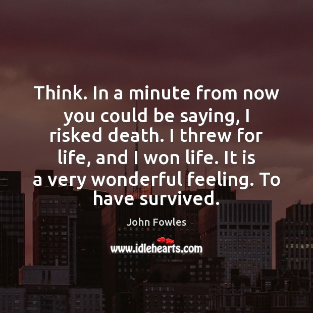 Think. In a minute from now you could be saying, I risked John Fowles Picture Quote