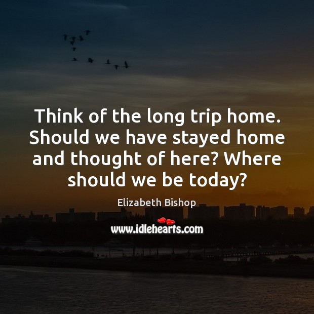 Think of the long trip home. Should we have stayed home and Image