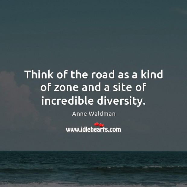 Think of the road as a kind of zone and a site of incredible diversity. Image