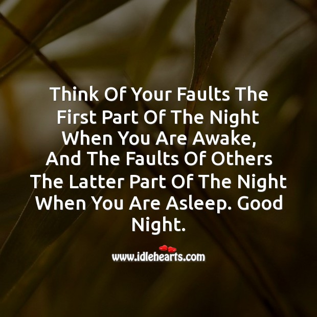 Think of your faults Good Night Messages Image