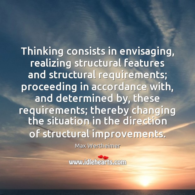 Thinking consists in envisaging, realizing structural features and structural requirements; proceeding in Max Wertheimer Picture Quote