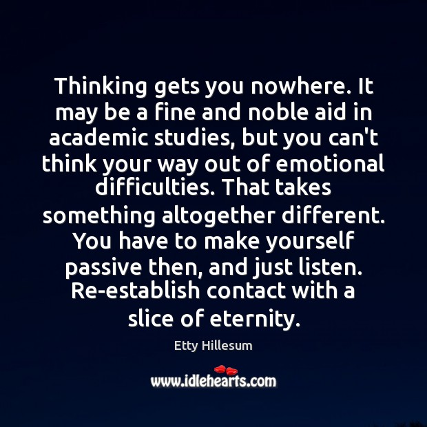 Thinking gets you nowhere. It may be a fine and noble aid Etty Hillesum Picture Quote