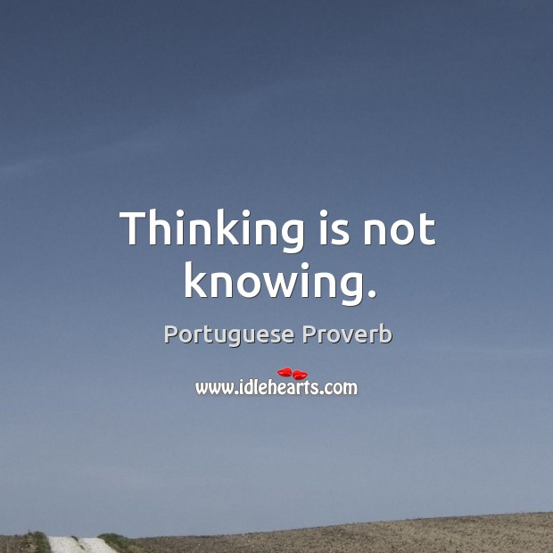 Image, Thinking is not knowing.