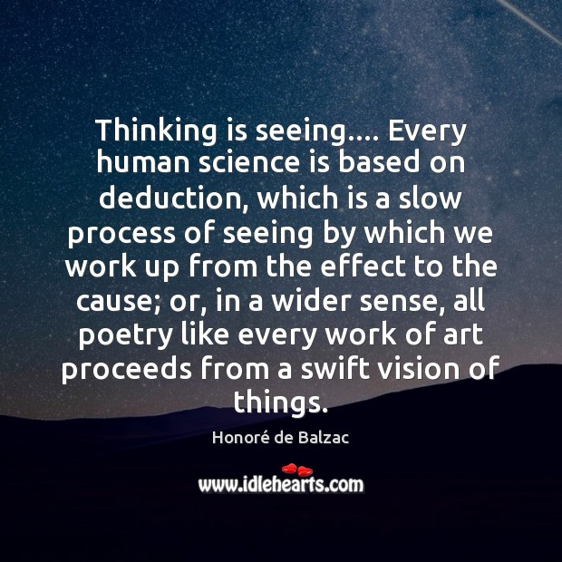 Image, Thinking is seeing…. Every human science is based on deduction, which is