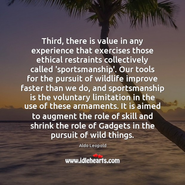 Image, Third, there is value in any experience that exercises those ethical restraints