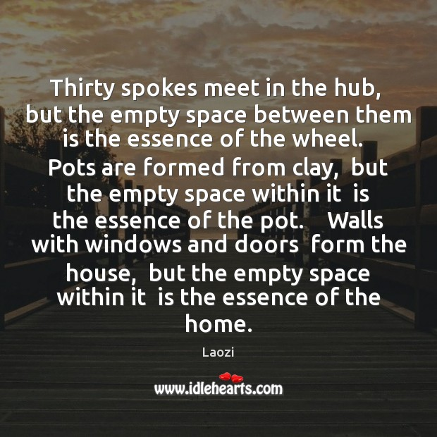 Thirty spokes meet in the hub,  but the empty space between them Image