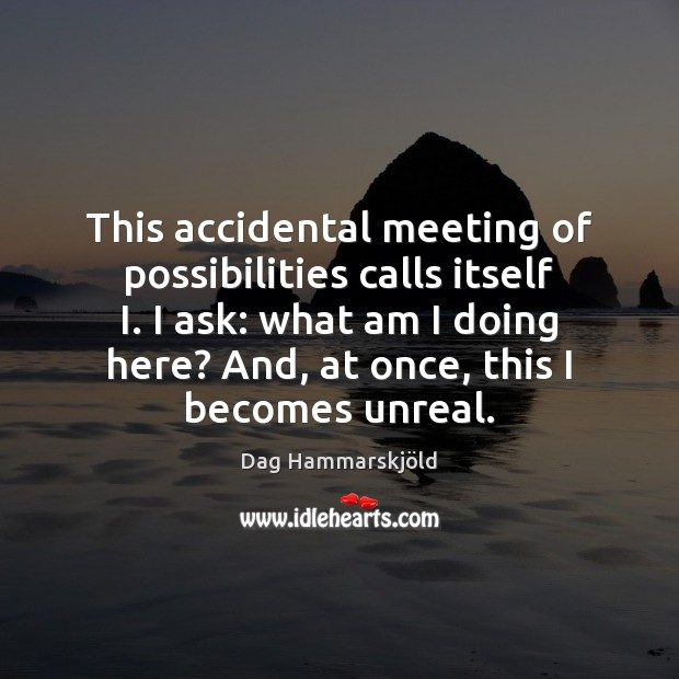 Image, This accidental meeting of possibilities calls itself I. I ask: what am