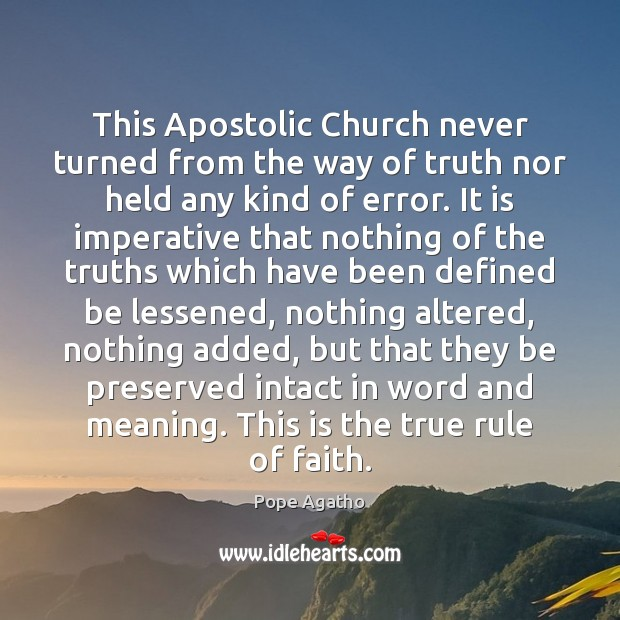 Image, This Apostolic Church never turned from the way of truth nor held