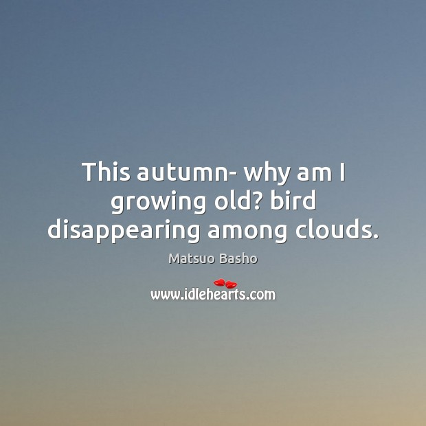 Image, This autumn- why am I growing old? bird disappearing among clouds.