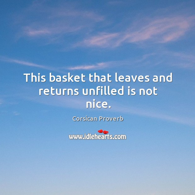 Image, This basket that leaves and returns unfilled is not nice.