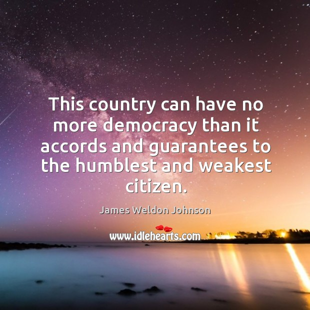 This country can have no more democracy than it accords and guarantees James Weldon Johnson Picture Quote
