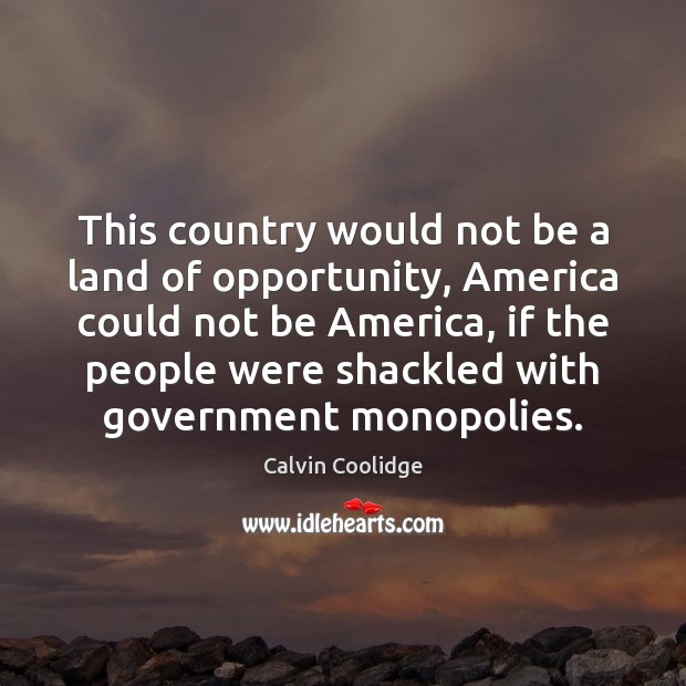 This country would not be a land of opportunity, America could not Calvin Coolidge Picture Quote