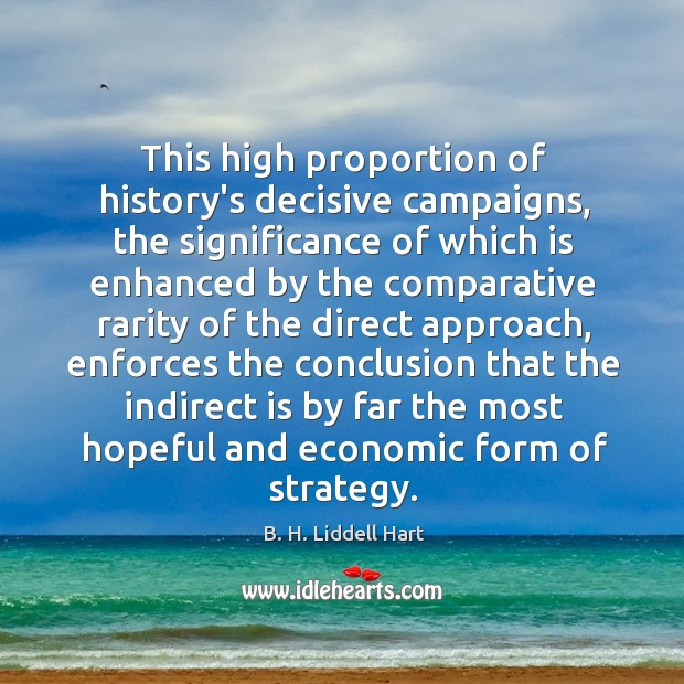 This high proportion of history's decisive campaigns, the significance of which is B. H. Liddell Hart Picture Quote