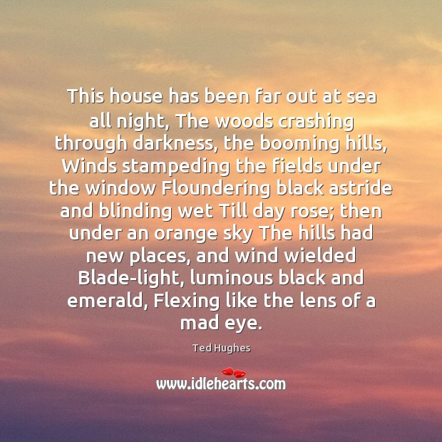 This house has been far out at sea all night, The woods Ted Hughes Picture Quote
