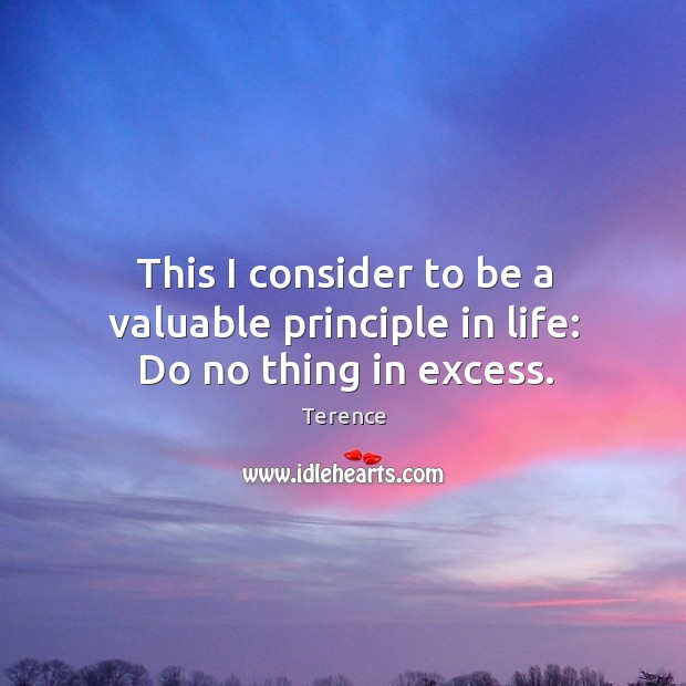 This I consider to be a valuable principle in life: do no thing in excess. Terence Picture Quote