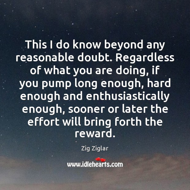 This I do know beyond any reasonable doubt. Regardless of what you Zig Ziglar Picture Quote