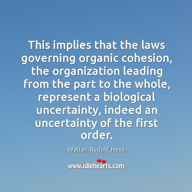 This implies that the laws governing organic cohesion, the organization leading from Image