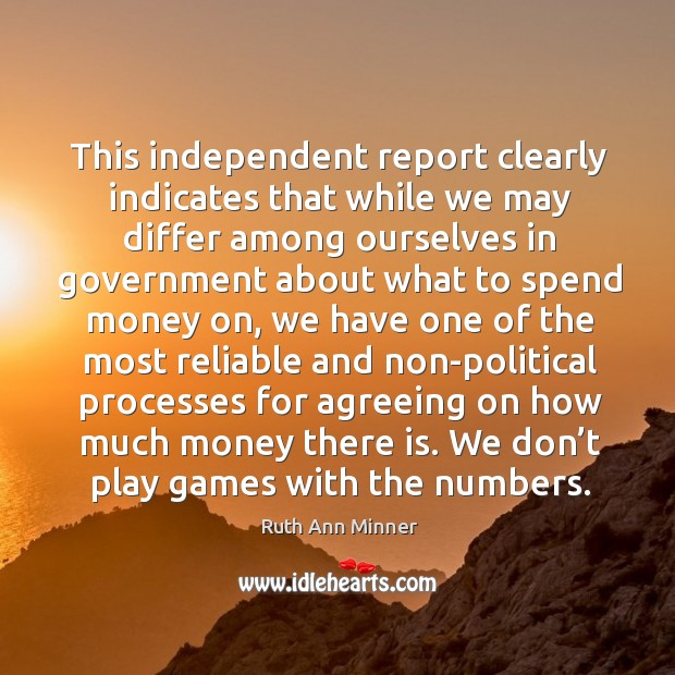 Image, This independent report clearly indicates that while we may differ among ourselves in