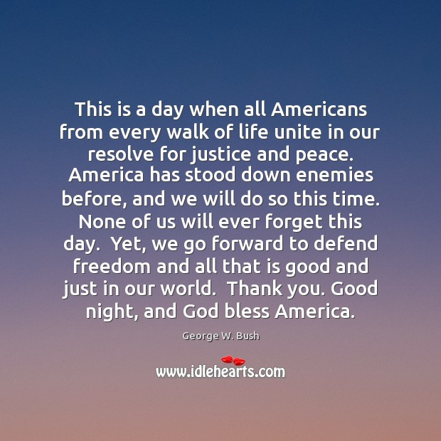 This is a day when all Americans from every walk of life Image