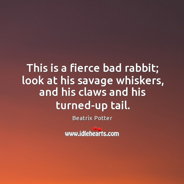 This is a fierce bad rabbit; look at his savage whiskers, and Beatrix Potter Picture Quote