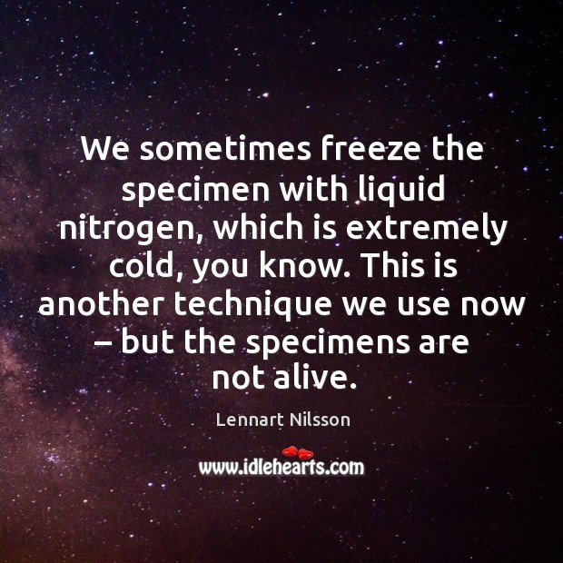 This is another technique we use now – but the specimens are not alive. Lennart Nilsson Picture Quote