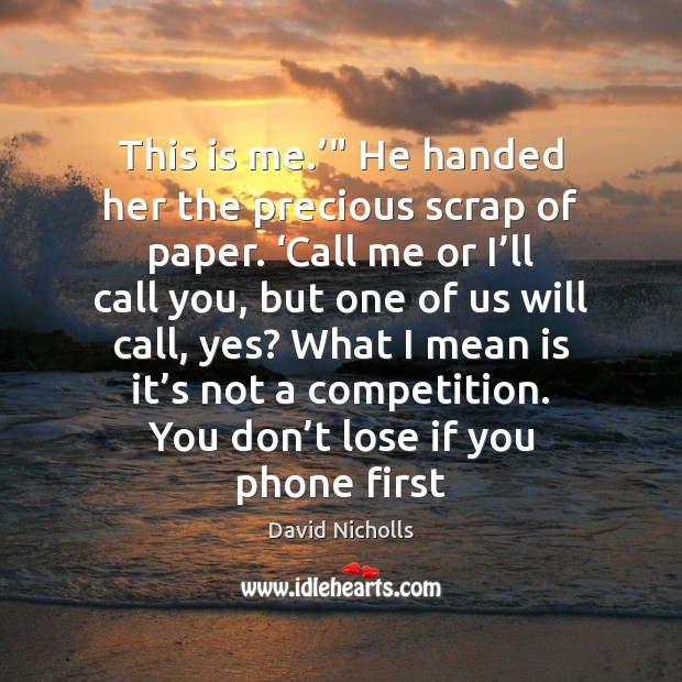 "This is me.'"" He handed her the precious scrap of paper. 'Call Image"