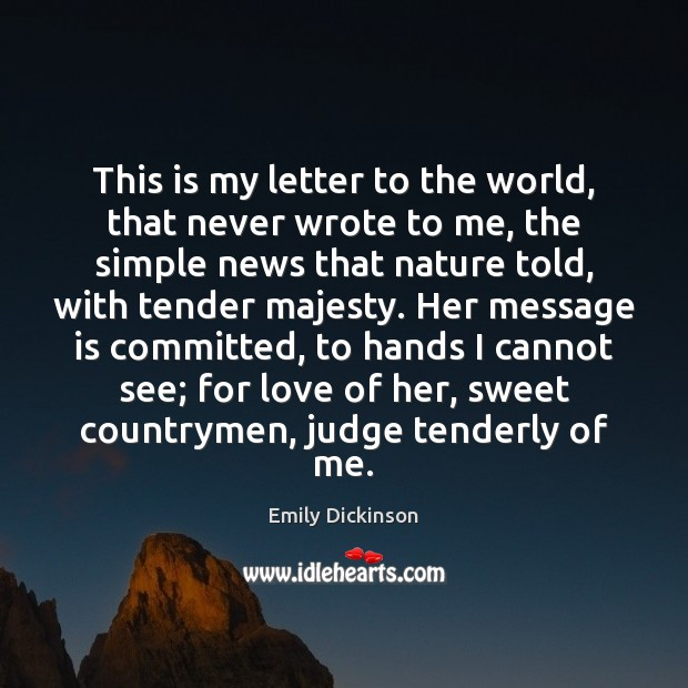 This is my letter to the world, that never wrote to me, Image