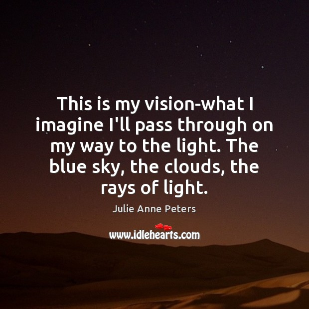 This is my vision-what I imagine I'll pass through on my way Julie Anne Peters Picture Quote