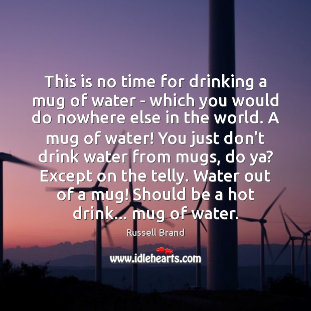 Russell Brand Picture Quote image saying: This is no time for drinking a mug of water – which