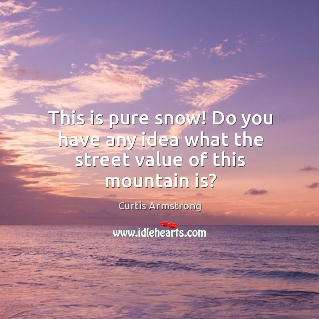 Image, This is pure snow! Do you have any idea what the street value of this mountain is?