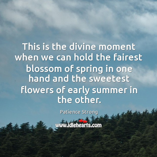 This is the divine moment when we can hold the fairest blossom Patience Strong Picture Quote