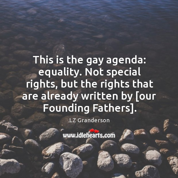 This is the gay agenda: equality. Not special rights, but the rights Image