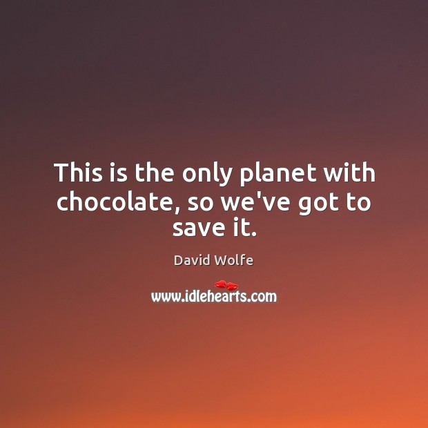 This is the only planet with chocolate, so we've got to save it. David Wolfe Picture Quote
