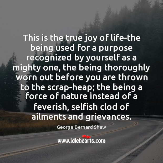 This is the true joy of life-the being used for a purpose Selfish Quotes Image