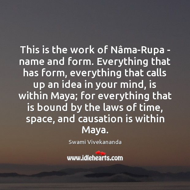 This is the work of Nâma-Rupa – name and form. Everything Swami Vivekananda Picture Quote