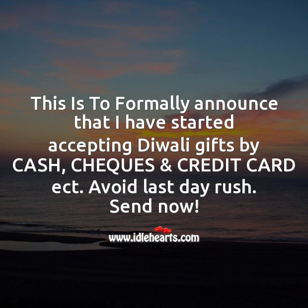 This is to formally announce that I have started Diwali Messages Image