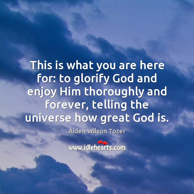 Image, This is what you are here for: to glorify God and enjoy