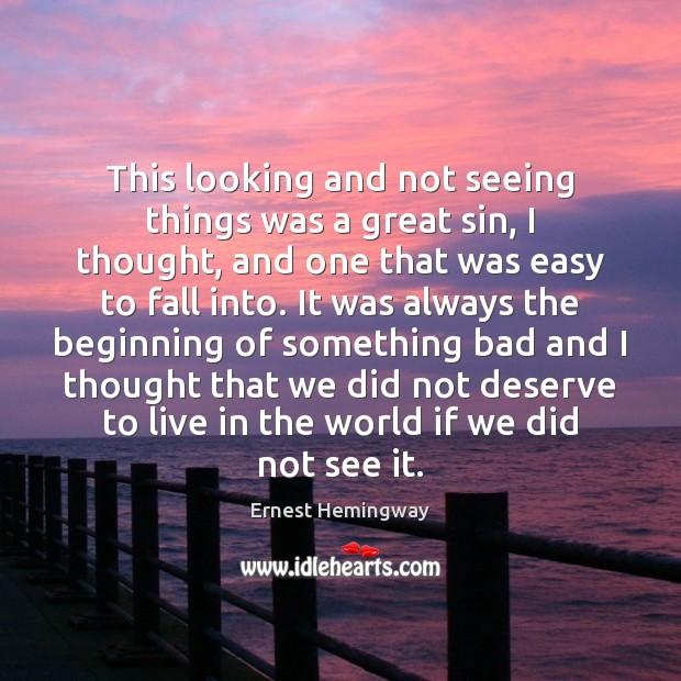 Image, This looking and not seeing things was a great sin, I thought,